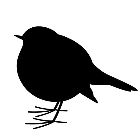 robin bird , vector illustration , black silhouette, profile view