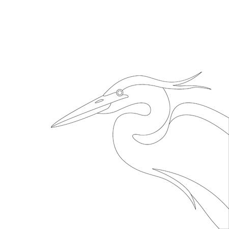 heron  head , vector illustration ,  lining draw, profile view