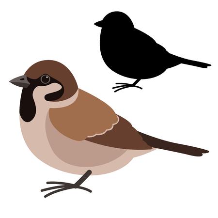 pájaro gorrión, ilustración vectorial, estilo plano, silueta negra