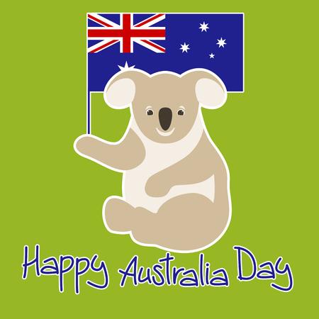 flag of Australia vector illustration , happy australia day, coala Vettoriali