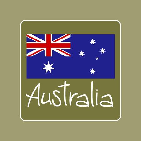 flag vector illustration , happy australia day ,text Çizim