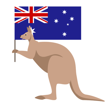flag of Australia vector illustration , happy australia day, kangaroo