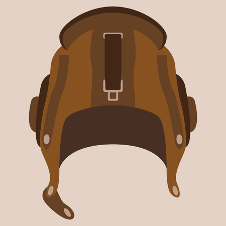 retro aviator helmet, vector illustration , flat style, vintage