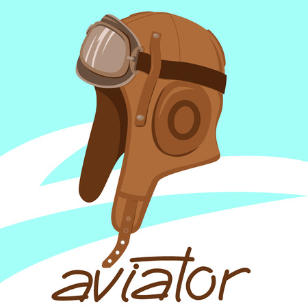 retro aviator helmet, vector illustration , flat style, vintage