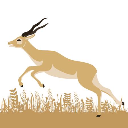 running antelope,vector illustration ,flat style, profile view