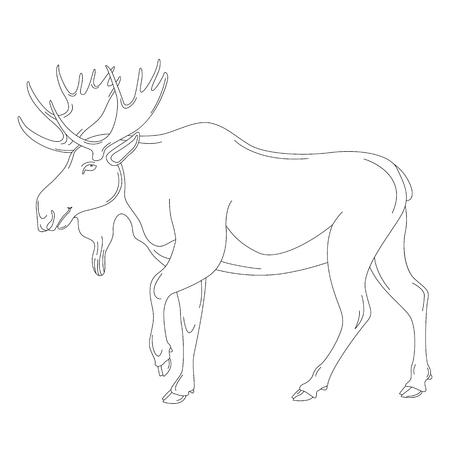 moose, vector illustration , lining draw profile view Ilustração