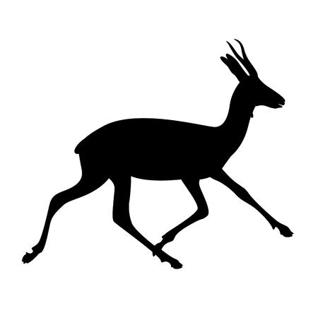 running antelope,vector illustration , black silhouette ,profile view