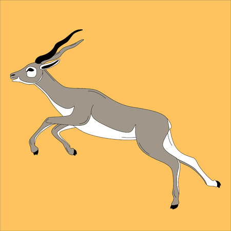 running antelope,vector illustration ,flat style, profile view