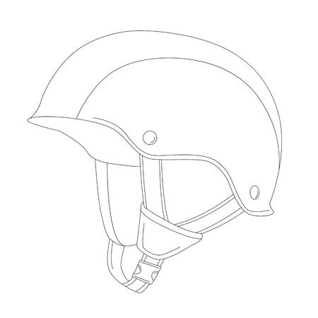 protective helmet ,vector illustration , lining draw  ,profile side