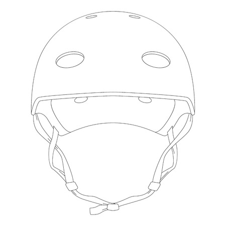 protective helmet ,vector illustration ,  lining draw , front  side