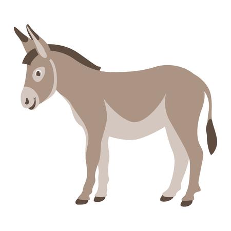 cartoon  donkey ,vector illustration ,flat style,profile side