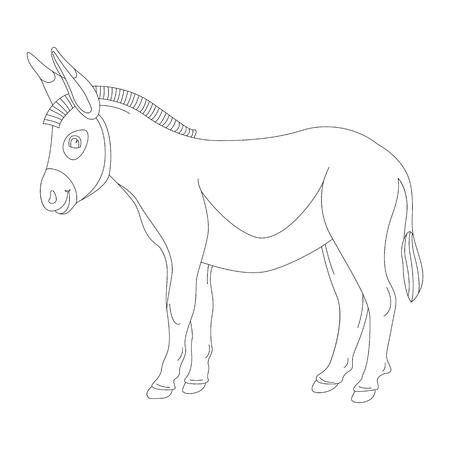 âne de dessin animé, illustration vectorielle, doublure, côté profil