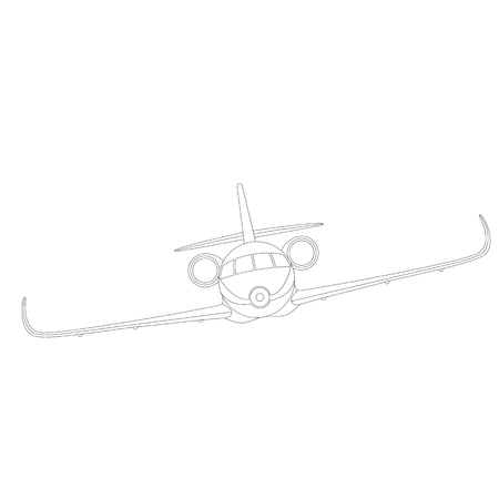 jet plane, vector illustration , lining draw, front side
