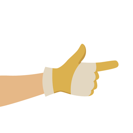 hand in working gloves, vector illustration , flat style