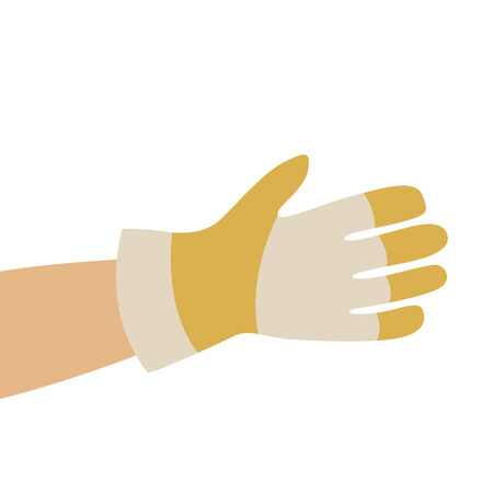 hand in working gloves, vector illustration , flat style 写真素材 - 126082873