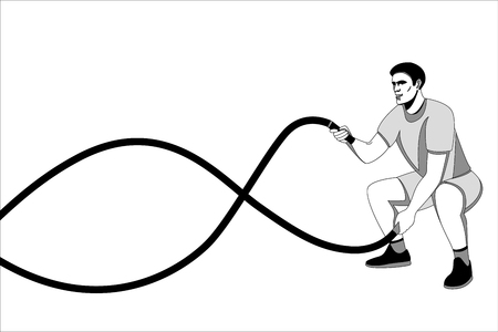 battle rope workout,vector illustration, lining draw