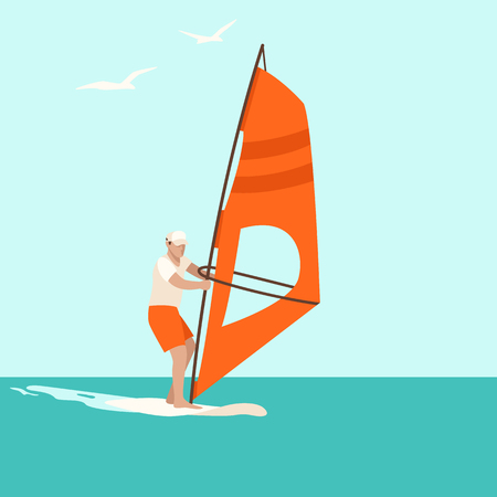 windsurfing ,vector illustration ,flat style, front view