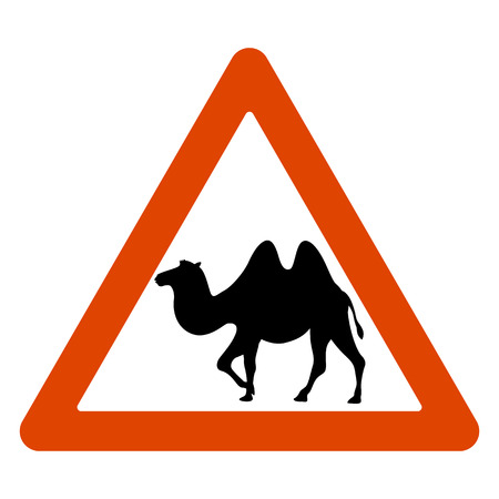 road sign, camel crossing the road, vector illustration