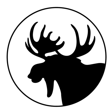 cartoon  moose ,vector illustration , black silhouette ,profile view Иллюстрация