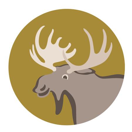 cartoon moose ,vector illustration ,flat style ,profile view Illustration