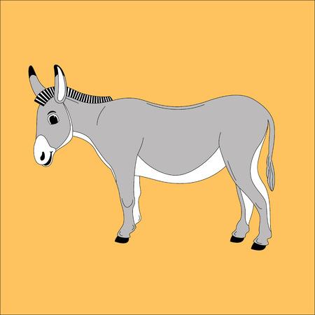 cartoon donkey ,vector illustration , lining draw ,profile view