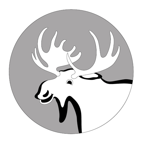 cartoon moose ,vector illustration , lining draw ,profile view