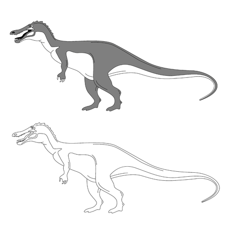cartoon dinosaur,vector illustration ,lining draw,profile view Ilustração