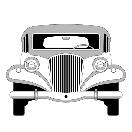 vintage car, vector illustration , lining draw, front view
