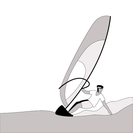 man to windsurf ,vector illustration , lining draw, profile view