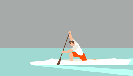 athlete in a canoe  vector illustration flat style profile side