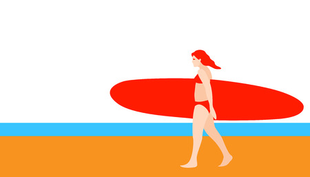 girl with a red  surfboard vector illustration flat style profile side