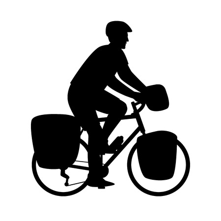 man travels by bike  vector illustration  black silhouette profile side