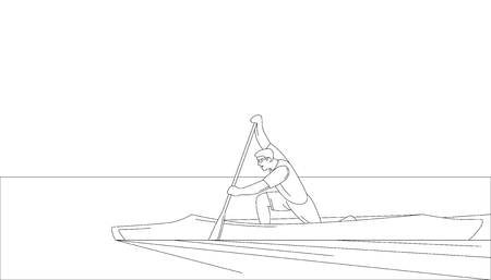 athlete in a canoe  vector illustration  lining draw profile side Ilustracja