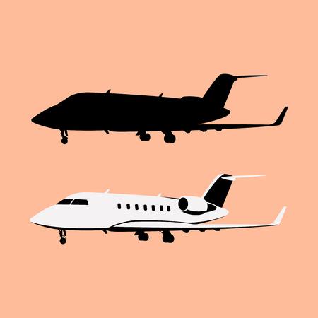 jet airliner set , vector illustration, flat style, profile side