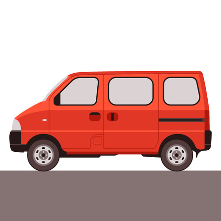 red van car, vector illustration , flat style, profile view