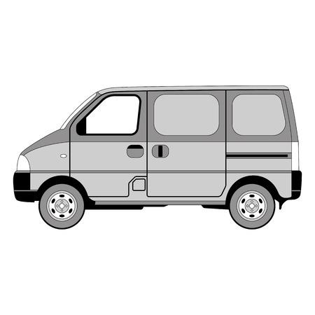 van car, vector illustration , lining draw, profile view