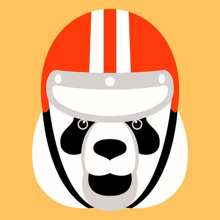 panda head in a helmet , vector illustration , flat style ,front  view Standard-Bild - 122778951