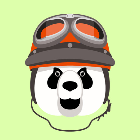 panda head in a helmet , vector illustration , flat style ,front  view Stock Illustratie