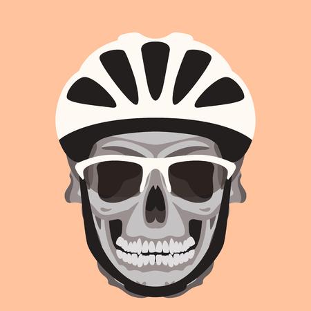 cráneo humano en un casco, ilustración vectorial, estilo plano, vista frontal