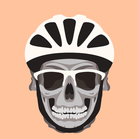 crâne humain dans un casque, illustration vectorielle, style plat, vue de face
