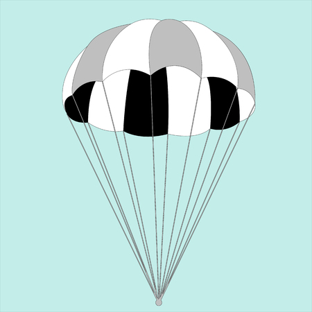 paracaídas, ilustración vectorial, estilo plano, vista frontal