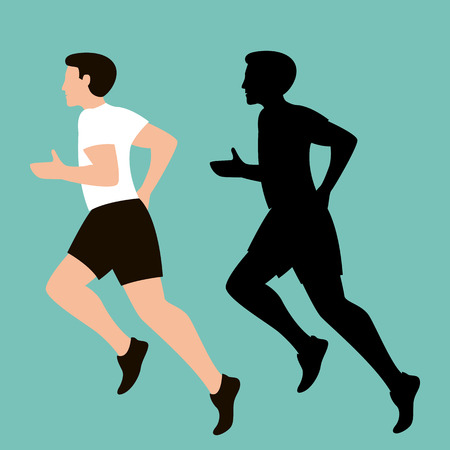 man is running, vector illustration, flat style, profile view
