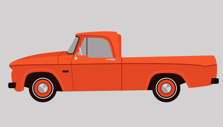 pickup car classic , vector illustration,   flat style, profile side