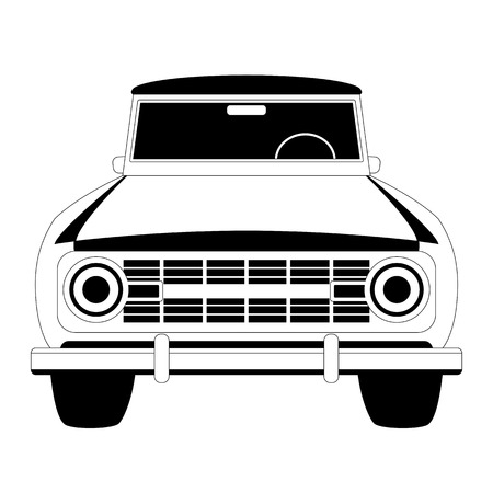 car classic , vector illustration,  lining draw, front side