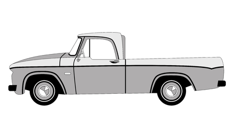 pickup car classic , vector illustration, lining draw, profile side