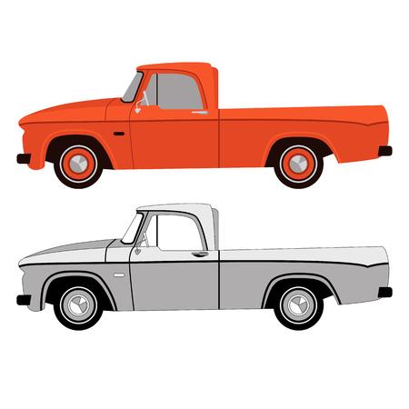 Establecer coche de época, ilustración vectorial, lado del perfil