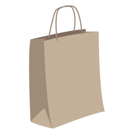 bolsa de papel ecológico, ilustración vectorial, estilo plano