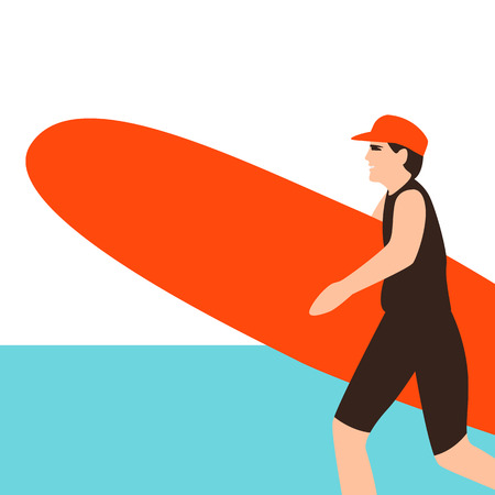 surfing young woman, vector illustration ,flat style Ilustração