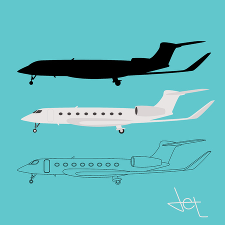 private jetliner, vector illustration,flat style,set
