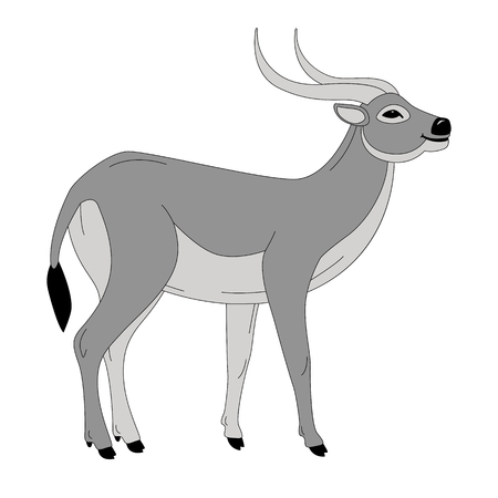 antelope, vector illustration , profile view, flat style
